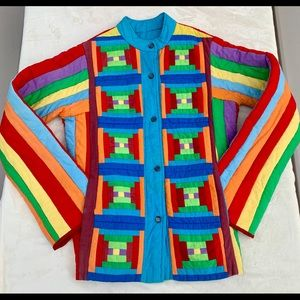 One-Of-A-Kind Vintage 80s Rainbow Quilted Jacket